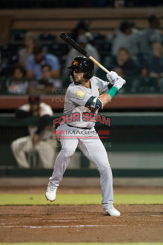 Mesa Solar Sox left fielder Luis Barrera (7), of the Oakland Athletics organization, at bat during an Arizona Fall League game against the Scottsdale Scorpions on October 9, 2018 at Scottsdale Stadium in Scottsdale, Arizona. The Solar Sox defeated the Scorpions 4-3. (Zachary Lucy/Four Seam Images)