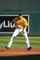 Tyler Peyton (38) of the Iowa Hawkeyes fields during a 2015 Big Ten Conference Tournament game between the Iowa Hawkeyes and Michigan Wolverines at Target Field on May 20, 2015 in Minneapolis, Minnesota. (Brace Hemmelgarn/Four Seam Images)