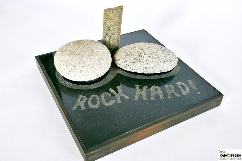 Title: Rock Hard<br /> Materials: Granite, Rough Granite and Brass Sandblasted<br /> Size: 9Tx12x12<br /> Price: Available on Request