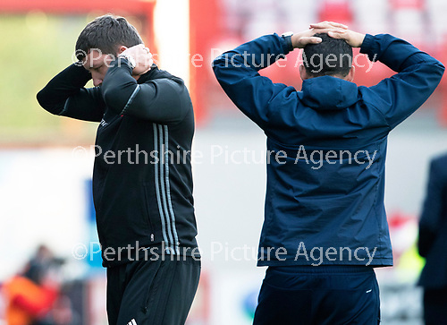 Hamilton Accies v St Johnstone…08.05.18…  New Douglas Park    SPFL<br />Accies boss Martin Canning holds his head in hands<br />Picture by Graeme Hart. <br />Copyright Perthshire Picture Agency<br />Tel: 01738 623350  Mobile: 07990 594431