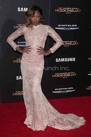 "LOS ANGELES, CA - NOVEMBER 16: Patina Miller at the Premiere Of ""The Hunger Games: Mockingjay - Part 2"" At Microsoft Theater On November 16, 2015. Credit: mpi21/MediaPunch"