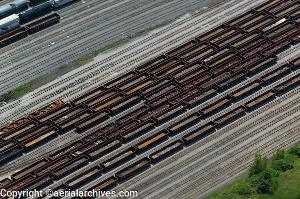 aerial photograph of the Cleveland Railroad Switching Yard, Cleveland,  Ohio USA