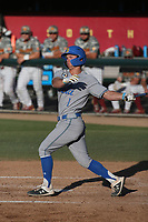 Matt McLain (1) of the UCLA Bruins bats against the USC Trojans at Dedeaux Field on March 28, 2021 in Los Angeles, California. UCLA defeated USC, 13-1. (Larry Goren/Four Seam Images)