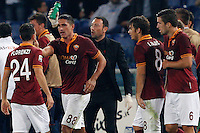 Calcio, Serie A: Roma vs ChievoVerona. Roma, stadio Olimpico, 31 ottobre 2013.<br /> AS Roma forward Marco Borriello, second from left, celebrates with teammates after scoring during the Italian Serie A football match between AS Roma and ChievoVerona at Rome's Olympic stadium, 31 October 2013.<br /> UPDATE IMAGES PRESS/Riccardo De Luca