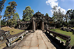 A temple in the ancient Khmer city of Angkor, a UNESCO World Heritage Site, in northwestern Cambodia, near Siem Reap.