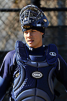 Xaverian Clippers catcher Elvin Soto (10) during a game vs. the Xavier Knights at Narrows Complex in Brooklyn, NY;  March 29, 2011.  Photo By Tomasso DeRosa /Four Seam Images