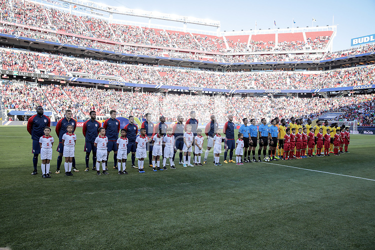 Santa Clara, CA - Wednesday July 26, 2017: USMNT and Jamaica starting eleven's during the 2017 Gold Cup Final Championship match between the men's national teams of the United States (USA) and Jamaica (JAM) at Levi's Stadium.