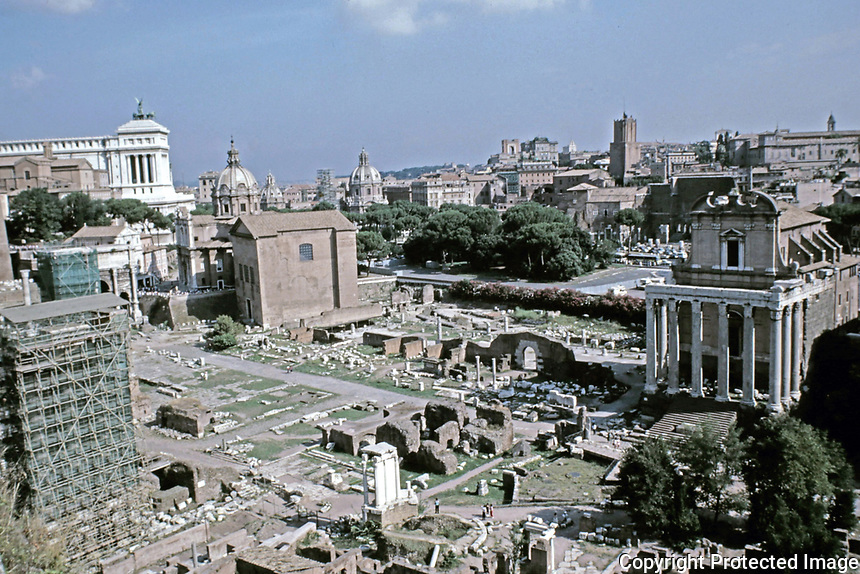 View of the Roman Forum, Rome Italy