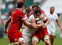 10th July 2021; Twickenham, London, England; International Rugby Union England versus Canada; Charlie Ewels of England is tackled by Conor Keys of Canada