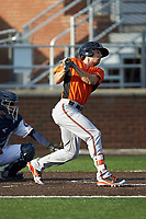 Cole Billingsley (3) of the Frederick Keys follows through on his swing against the Buies Creek Astros at Jim Perry Stadium on April 28, 2018 in Buies Creek, North Carolina. The Astros defeated the Keys 9-4.  (Brian Westerholt/Four Seam Images)