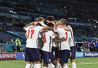 3rd July 2021, Stadio Olimpico, Rome, Italy;  Euro 2020 Football Championships, England versus Ukraine quarter final; Players of England celebrate scoring  with scorer Harry Kane for 3-0