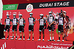 Team BikeExchange at sign on before the start of Stage 6 of the 2021 UAE Tour running 165km from Deira Island to Palm Jumeirah, Dubai, UAE. 26th February 2021.  <br /> Picture: Eoin Clarke   Cyclefile<br /> <br /> All photos usage must carry mandatory copyright credit (© Cyclefile   Eoin Clarke)