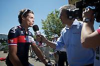 Sylvain Chavanel (FRA/IAM) interviewed before the start<br /> <br /> 2014 Tour de France<br /> stage 12: Bourg-en-Bresse - Saint-Etiènne (185km)