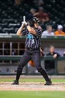 Ryan Raburn (16) of the Charlotte Knights at bat against the Norfolk Tides at BB&T BallPark on May 2, 2017 in Charlotte, North Carolina.  The Knights defeated the Tides 8-3.  (Brian Westerholt/Four Seam Images)