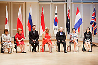 Jury members sit on stage during the opening ceremony of the 11th USA International Harp Competition at Indiana University in Bloomington, Indiana on Wednesday, July 3, 2019. Pictured from left are: Skaila Kanga, Milda Agazarian, Sylvain Blassel, Jana Bouskova, Mario Falcao, Anneleen Lenaerts and Dan Yu. (Photo by James Brosher)