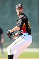 Pittsburgh Pirates minor league pitcher Quinton Miller (92) vs. the Philadelphia Phillies in an Instructional League game at Pirate City in Bradenton, Florida;  October 6, 2010.  Photo By Mike Janes/Four Seam Images
