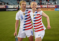Jacksonville, FL - Thursday April 5, 2018: Lindsey Horan, Becky Sauerbrunn during an International friendly match versus the women's National teams of the United States (USA) and Mexico (MEX) at EverBank Field.