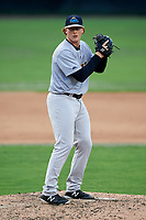 Trenton Thunder relief pitcher Caleb Frare (37) gets ready to deliver a pitch during the first game of a doubleheader against the Bowie Baysox on June 13, 2018 at Prince George's Stadium in Bowie, Maryland.  Trenton defeated Bowie 4-3.  (Mike Janes/Four Seam Images)