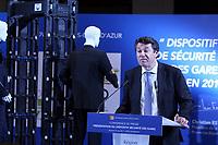 10 mars 2017 Christian Estrosi president de la region Provence Alpes Cote d Azur presente le dispositif securite des gares en Provence