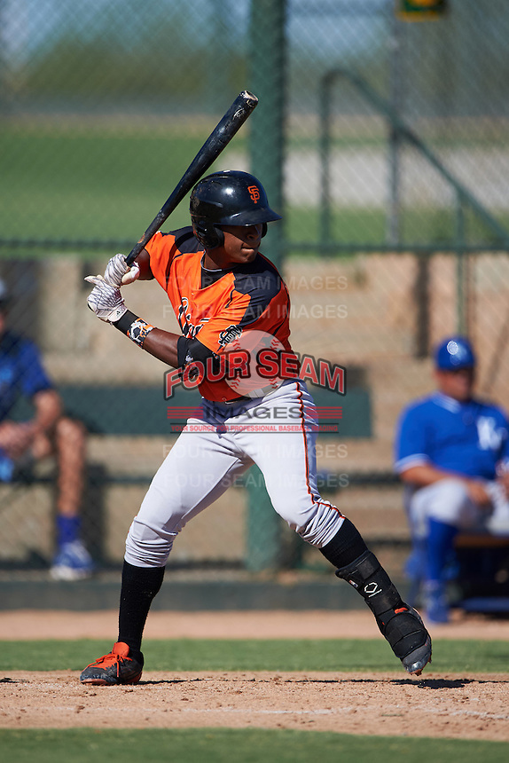 San Francisco Giants Jalen Miller (15) during an instructional league game against the Kansas City Royals on October 23, 2015 at the Papago Baseball Facility in Phoenix, Arizona.  (Mike Janes/Four Seam Images)
