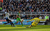 Jefferson Montero of Swansea City shoots at goal only for his shot to go wide of the post during the Barclays Premier League match between Newcastle United and Swansea City played at St. James' Park, Newcastle upon Tyne, on the 16th April 2016