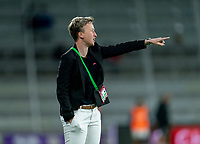 ORLANDO, FL - FEBRUARY 21: Bev Priestman of Canada yells to her team during a game between Canada and Argentina at Exploria Stadium on February 21, 2021 in Orlando, Florida.