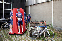 Team pre-race pee stop with 1 rider not getting a spot...<br /> <br /> Antwerp Port Epic / Sels Trophy 2021 (BEL)<br /> One day race from Antwerp to Antwerp (183km)<br /> <br /> The APC stands qualified as a 'road race', but with 36km of gravel and 28km of cobbled sections in and around the Port of Antwerp (BEL) this race occupies a unique spot in the Belgian race scene.<br /> <br /> ©kramon