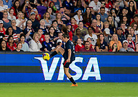 ORLANDO, FL - MARCH 05: Kelley O'Hara #5 of the United States controls the ball during a game between England and USWNT at Exploria Stadium on March 05, 2020 in Orlando, Florida.