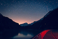 View of the Mauvoisin Dam under a sky full of stars