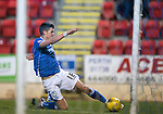 St Johnstone v Partick Thistle…02.03.16  SPFL McDiarmid Park, Perth<br />Graham Cummins misses the goal after rounding keeper Tomas Cerny<br />Picture by Graeme Hart.<br />Copyright Perthshire Picture Agency<br />Tel: 01738 623350  Mobile: 07990 594431