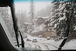 Italy, Dolomites.  Winter Driving.<br />