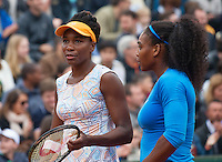 Paris, France, 29 June, 2016, Tennis, Roland Garros, Womans Doubles: Venus (L) and Serena Williams (USA)<br /> Photo: Henk Koster/tennisimages.com