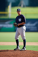 New York Yankees pitcher Miguel Yajure (45) gets ready to deliver a pitch during a Florida Instructional League game against the Philadelphia Phillies on October 12, 2018 at Spectrum Field in Clearwater, Florida.  (Mike Janes/Four Seam Images)