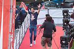 Atletico de Madrid Diego Godin celebrating Europa League Championship at Neptune Fountain in Madrid, Spain. May 18, 2018. (ALTERPHOTOS/Borja B.Hojas)