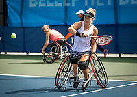 Amstelveen, Netherlands, 22 Augustus, 2020, National Tennis Center, NTC, NKR, National  Wheelchair Tennis Championships, Woman's doubles final  final:  Diede de Groot (NED) (R) and Jiske Griffioen (NED) <br /> Photo: Henk Koster/tennisimages.com