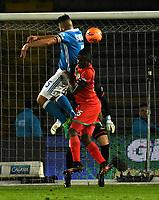 BOGOTA - COLOMBIA - 09 – 05 - 2017: Andres Cadavid (Izq.) jugador de Millonarios disputa el balón con Yair Arrechea (Der.) jugador de Cortulua, durante partido de la fecha 17 entre Millonarios y por la Liga Aguila I-2017, jugado en el estadio Nemesio Camacho El Campin de la ciudad de Bogota. / Andres Cadavid (L) player of Millonarios vies for the ball with Yair Arrechea (R) player of Cortulua, during a match of the date 17th between Millonarios and Cortulua, for the Liga Aguila I-2017 played at the Nemesio Camacho El Campin Stadium in Bogota city, Photo: VizzorImage / Luis Ramirez / Staff.