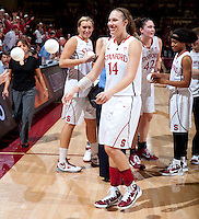 STANFORD, CA - January 22, 2011: Kayla Pedersen of the Stanford women's basketball team after their game against USC at Maples Pavilion. Stanford beat USC 95-51.