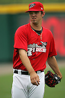 Frisco Rough Riders Pitcher Eric Hurley during the 2007 AA Texas League Season. Photo by Andrew Woolley / Four Seam Images.