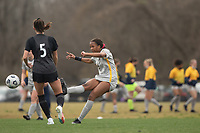 LOUISVILLE, KY - MARCH 13: Gabrielle Robinson #8 of West Virginia University passes the ball during a game between West Virginia University and Racing Louisville FC at Thurman Hutchins Park on March 13, 2021 in Louisville, Kentucky.
