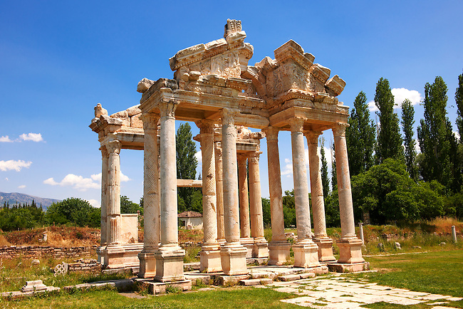 """Picture of the double Tetrapylon Gate, Aphrodisias, Turkey. A tetrapylon (Greek: Τετράπυλον, """"four gates"""") is an ancient type of Roman monument of cubic shape, with a gate on each of the four sides: generally it was built on a crossroads. stock photos & photo art prints. 7"""