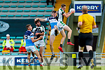 Donal Lyne Legion goes highest over Kieran Ó Dubhair Saint Brendans, during the Kerry County Senior Football Championship Round quarter final match between Legion and Saint Brendans at Austin Stack Park in Tralee on Saturday.