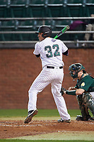 Stetson Hatters designated hitter Cory Reid (32) at bat during a game against the Siena Saints on February 23, 2016 at Melching Field at Conrad Park in DeLand, Florida.  Stetson defeated Siena 5-3.  (Mike Janes/Four Seam Images)