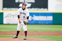 Clay Murphy (8) of the Missouri State Bears looks for the pitch sign during a game against the Oral Roberts Golden Eagles on March 27, 2011 at Hammons Field in Springfield, Missouri.  Photo By David Welker/Four Seam Images