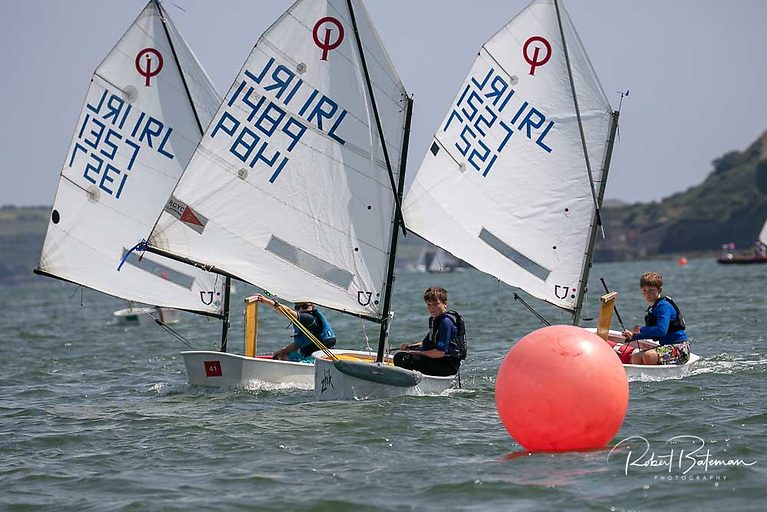 Close racing for Royal Cork Optimist dinghies in Cork Harbour