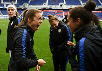 Harrison, N.J. - Sunday March 04, 2018: Kelley O'Hara, Christen Press during a 2018 SheBelieves Cup match between the women's national teams of the United States (USA) and France (FRA) at Red Bull Arena.
