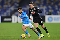 Lorenzo Insigne of SSC Napoli and Andrea Cambiaso of Empoli FC compete for the ball during the Italy Cup football match between SSC Napoli and Empoli FC at stadio Diego Armando Maradona in Napoli (Italy), January 13, 2021. <br /> Photo Cesare Purini / Insidefoto
