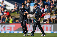 23rd March 2021; Christchurch, New Zealand;  Mitchell Santner celebrates Martin Guptill's catch out Mahmud Ullah off the bowling of Kyle Jamieson of the Black Caps during the 2nd ODI cricket match, Black Caps versus Bangladesh, Hagley Oval, Christchurch, New Zealand.