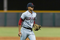AZL Indians 2 starting pitcher Carlos Vargas (64) prepares to flip a ball to first base during an Arizona League game against the AZL Cubs 2 at Sloan Park on August 2, 2018 in Mesa, Arizona. The AZL Indians 2 defeated the AZL Cubs 2 by a score of 9-8. (Zachary Lucy/Four Seam Images)