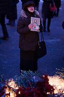 Moscow, Russia, 27/01/2011..A woman cries out in grief while holding an icon at a memorial ceremony in central Moscow for the 35 people killed in the Domodedovo airport bombing.