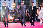 Allen Iverson (hat), Jessica Jung, and Pakho Chau walk the Red Carpet event at the World Celebrity Pro-Am 2016 Mission Hills China Golf Tournament on 20 October 2016, in Haikou, China. Photo by Victor Fraile / Power Sport Images